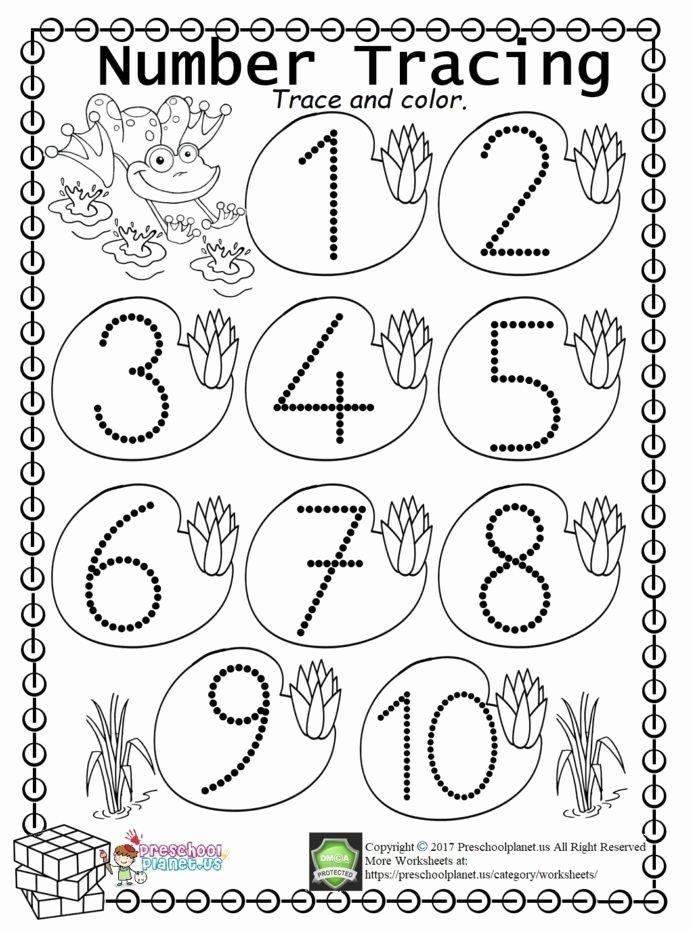 Number Tracing Worksheets for Preschoolers Unique Worksheet Worksheets Kindergarten Trace Freeintable All