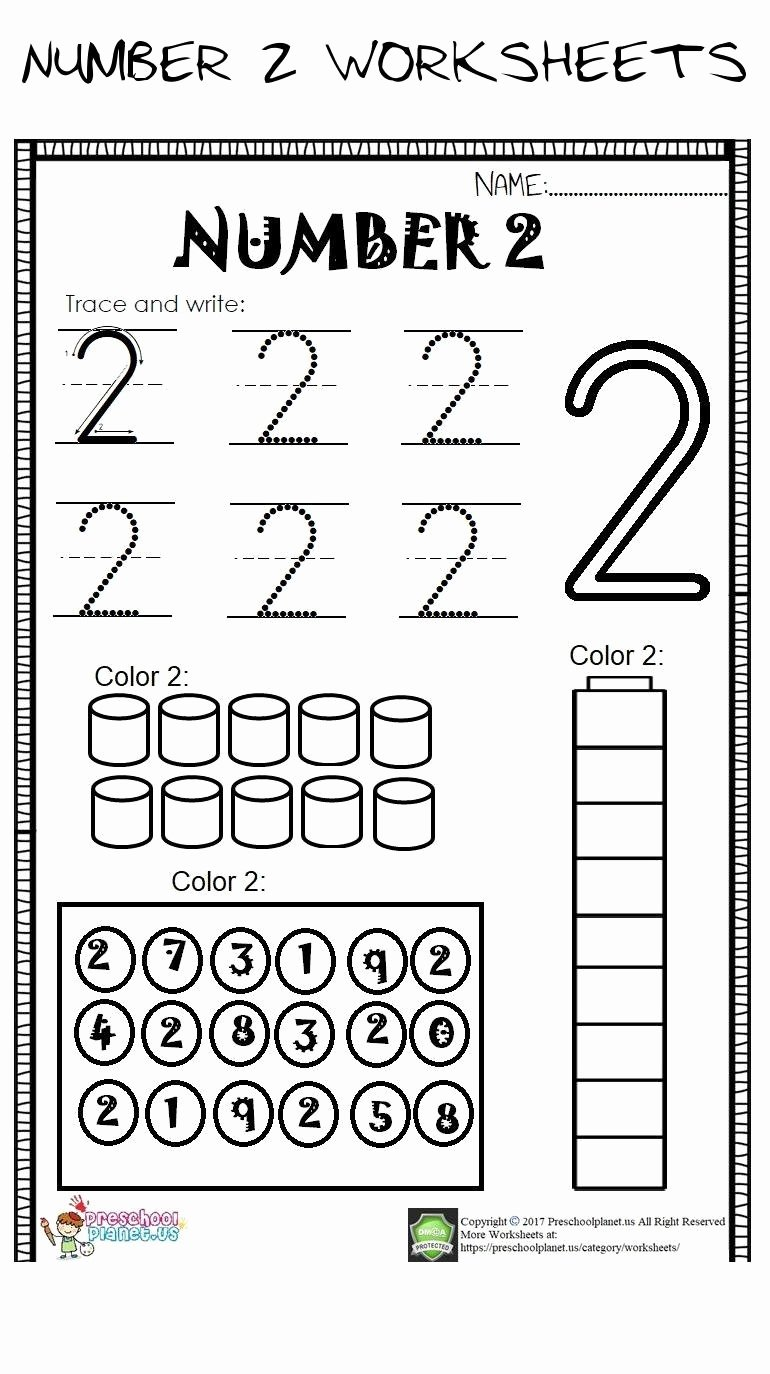 Number Two Worksheets for Preschoolers Beautiful Number 2 Worksheets Number 2 Worksheet for Kids