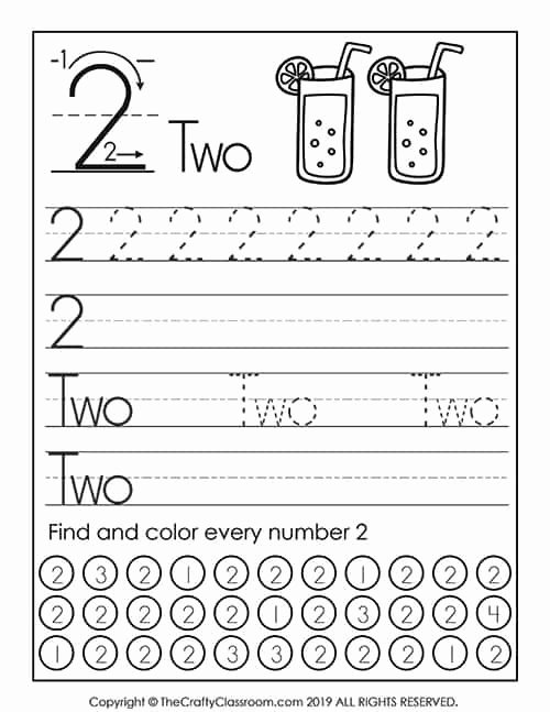 Number Two Worksheets for Preschoolers Beautiful Preschool Number Worksheets Preschool Mom