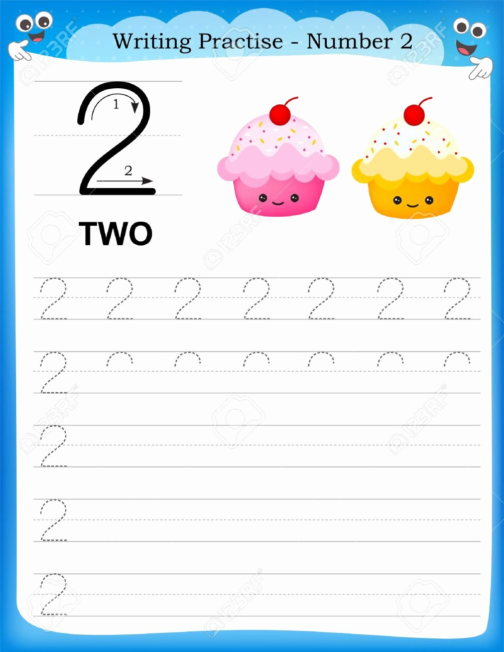 Number Two Worksheets for Preschoolers Best Of Writing Practice Number Two Printable Worksheet for Preschool