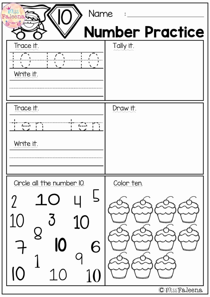 Number Two Worksheets for Preschoolers Lovely Number Practice Set Math Worksheets Kindergarten Numbers 3rd