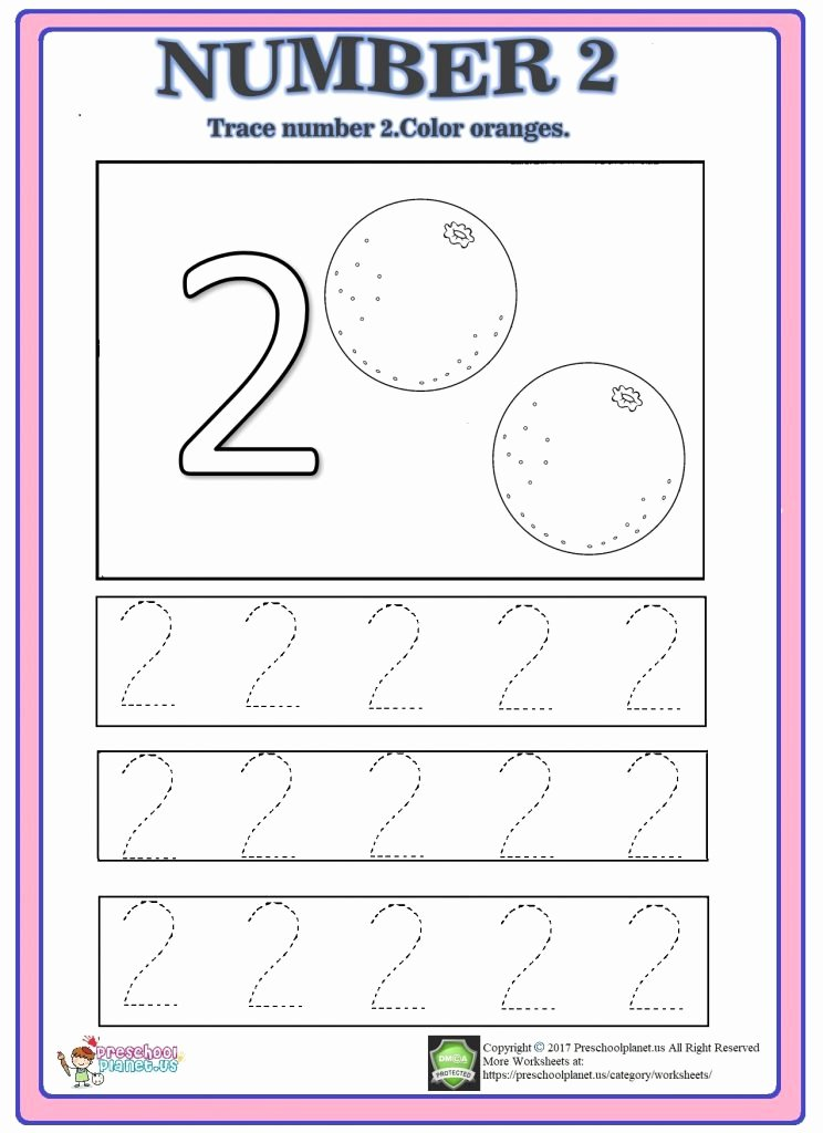 Number Two Worksheets for Preschoolers top Number Trace Worksheet Preschoolplanet Worksheets for