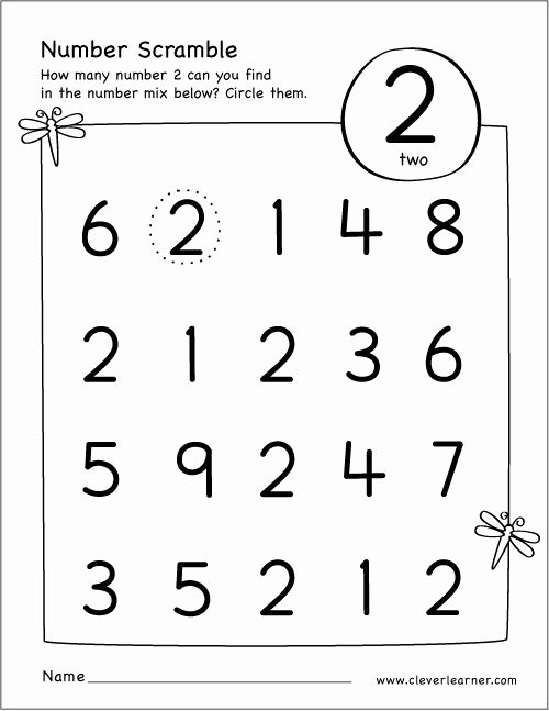 Numbers Worksheets for Preschoolers Best Of Free Printable Scramble Number Two Activity