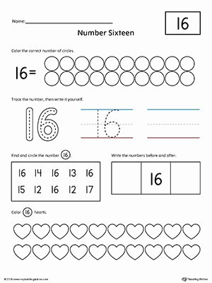 Numbers Worksheets for Preschoolers Lovely Number 16 Practice Worksheet