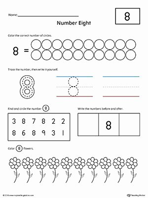 Numbers Worksheets for Preschoolers New Number 8 Practice Worksheet