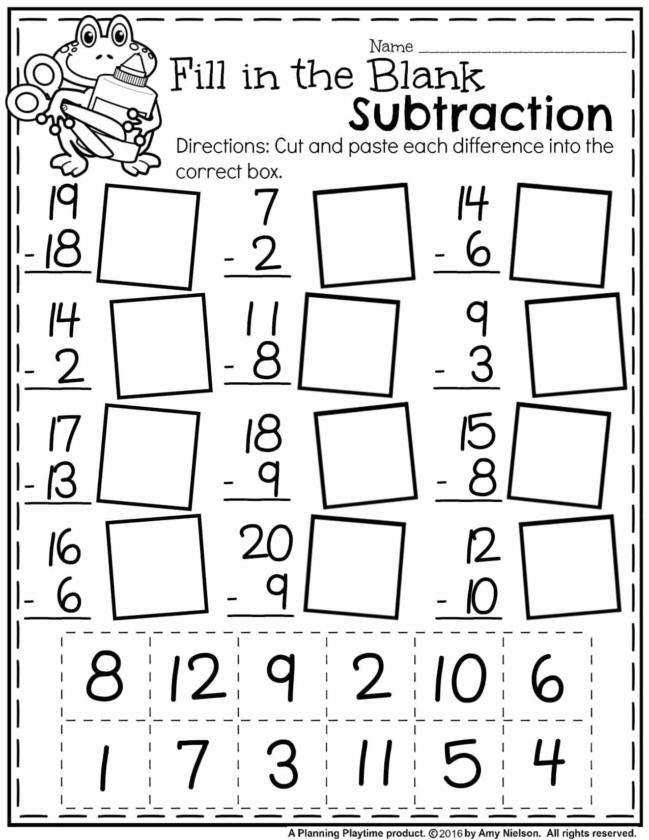 Numeracy Worksheets for Preschoolers Lovely Free Math Worksheets First Grade Subtraction Single Digit