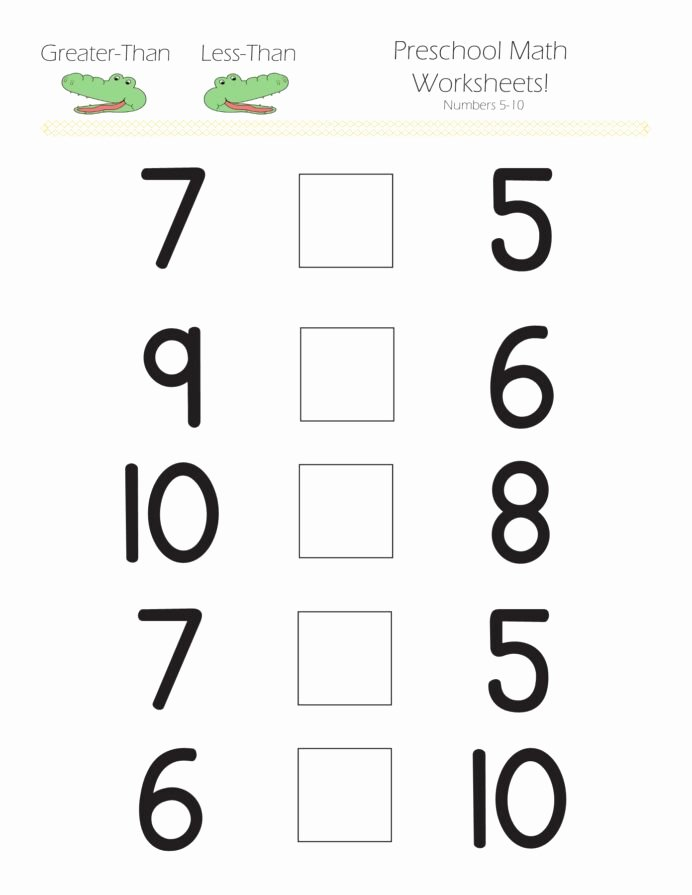 Numeracy Worksheets for Preschoolers Lovely Greater Than Less Preschool Math Worksheets Hard Subtraction