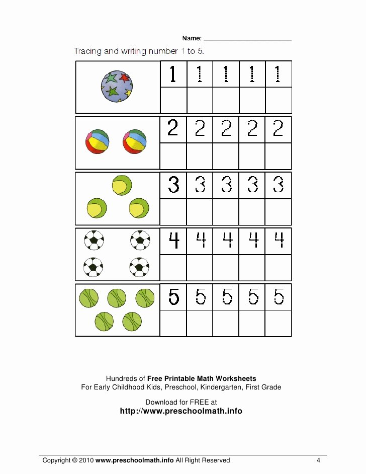 Numeracy Worksheets for Preschoolers Unique Math Worksheets for Kindergarten and Preschool