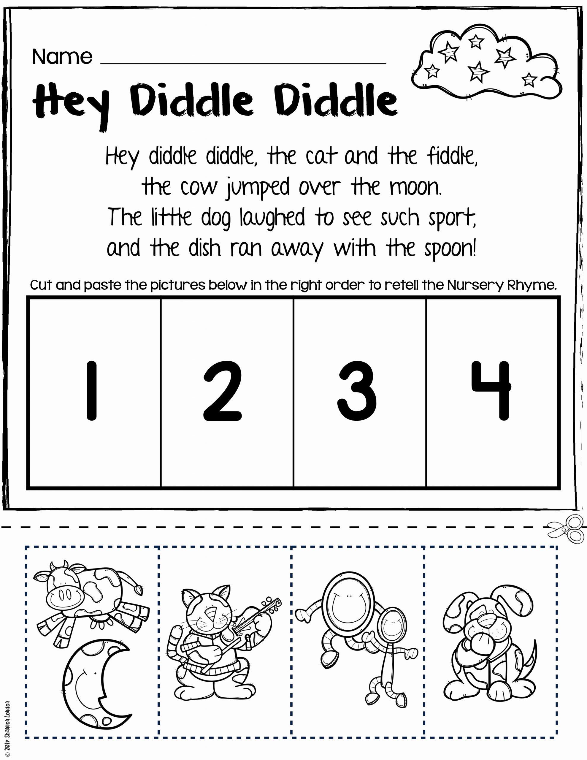 Nursery Rhymes Worksheets for Preschoolers Best Of Nursery Rhymes Worksheets for Story Retelling Practice