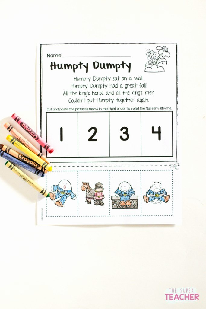Nursery Rhymes Worksheets for Preschoolers Fresh Nursery Rhymes Worksheets for Story Retelling Practice