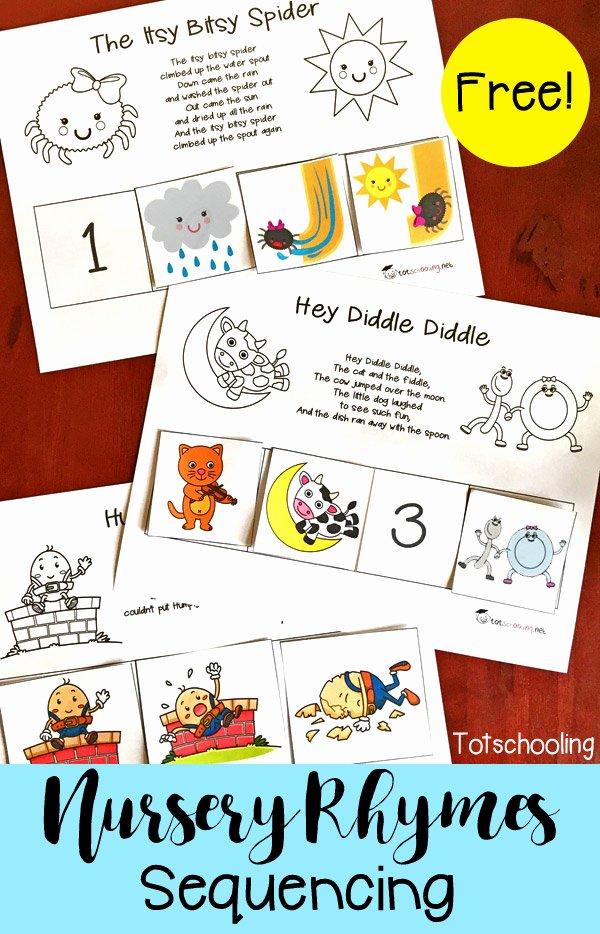Nursery Rhymes Worksheets for Preschoolers top Free Nursery Rhymes Sequencing Printables