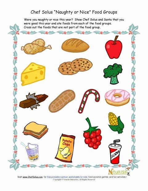 Nutrition Worksheets for Preschoolers Unique Kids Food Groups Christmas Worksheet for Worksheets Preview