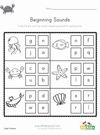 Ocean themed Worksheets for Preschoolers Awesome Ocean Beginning sounds Worksheet