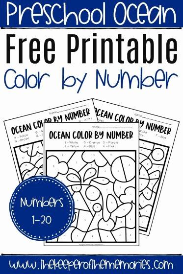 Ocean themed Worksheets for Preschoolers Inspirational Free Printable Color by Number Ocean Preschool Worksheets