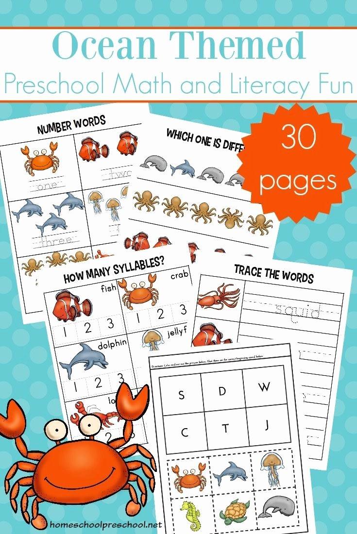 Ocean themed Worksheets for Preschoolers Inspirational Free Printable Preschool Ocean Worksheets