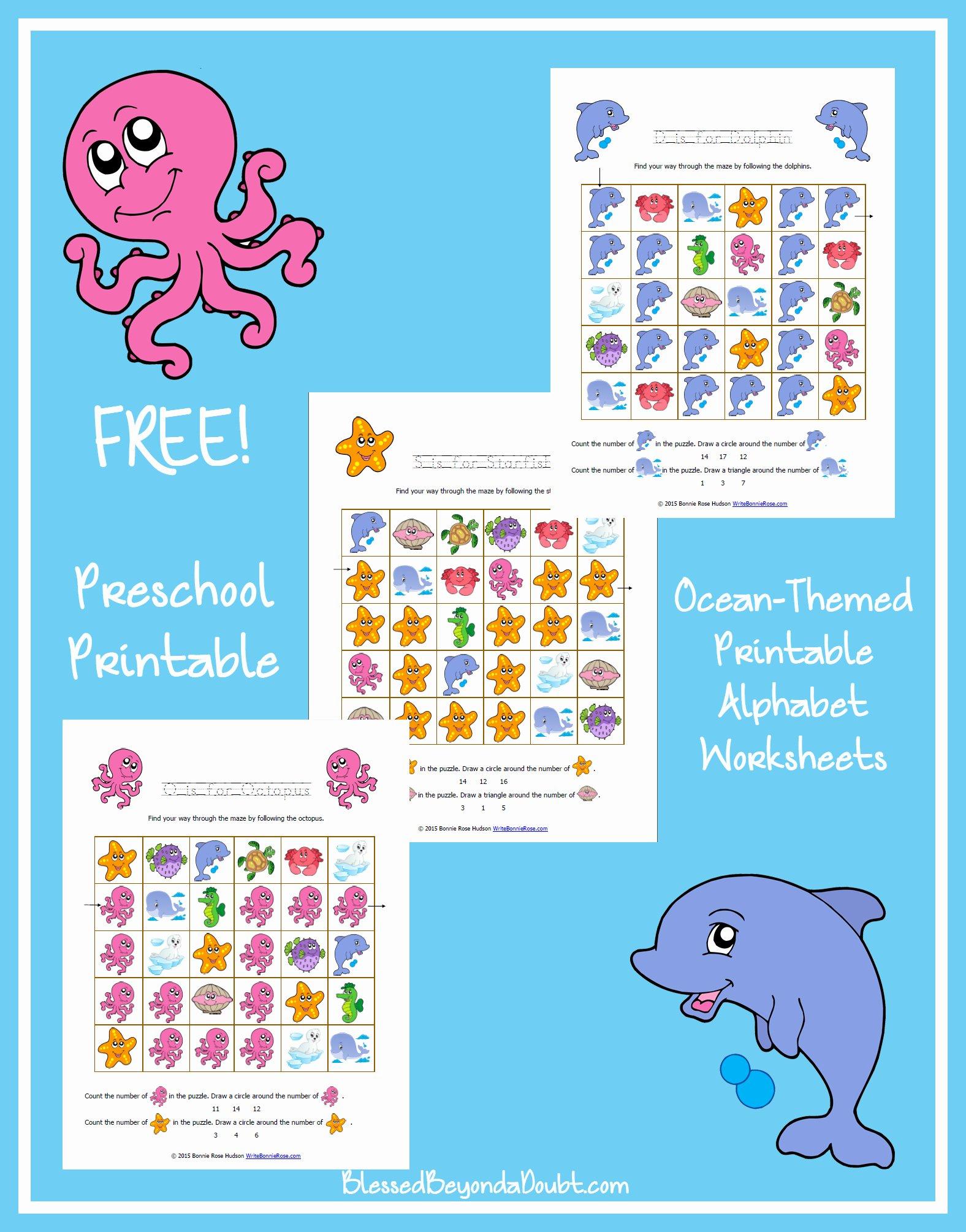 Ocean themed Worksheets for Preschoolers top Free Ocean themed Printable Alphabet Worksheets for