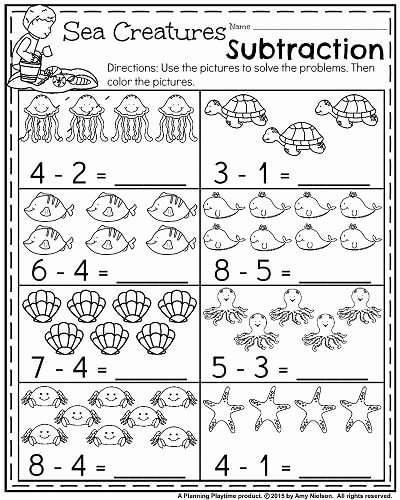 Ocean Worksheets for Preschoolers Lovely Summer Kindergarten Math Worksheets Ocean themed