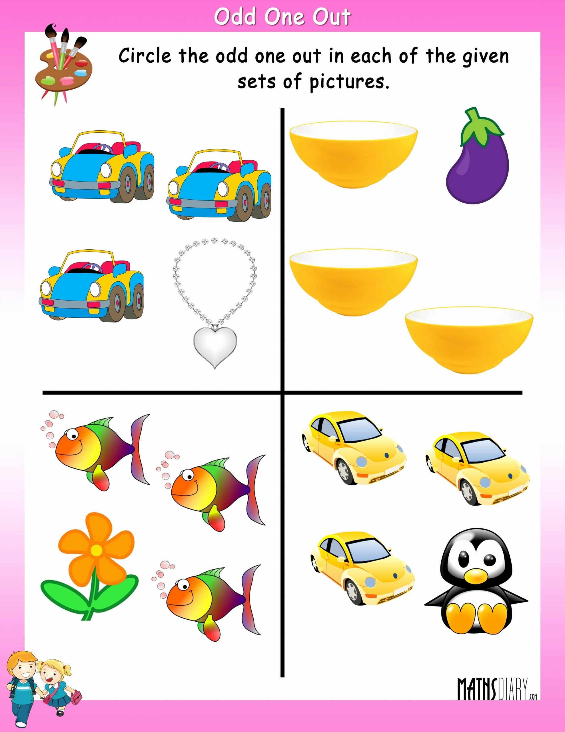 Odd One Out Worksheets for Preschoolers Awesome Circle the Odd One Out Math Worksheets Mathsdiary