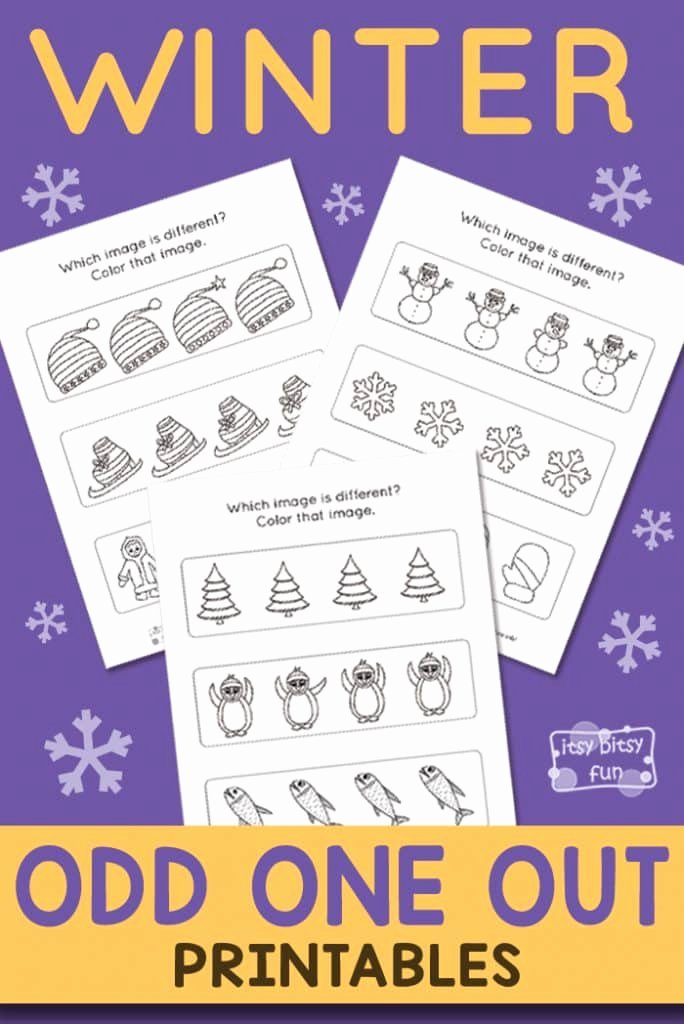 Odd One Out Worksheets for Preschoolers Awesome Winter Odd E Out Worksheet Itsybitsyfun