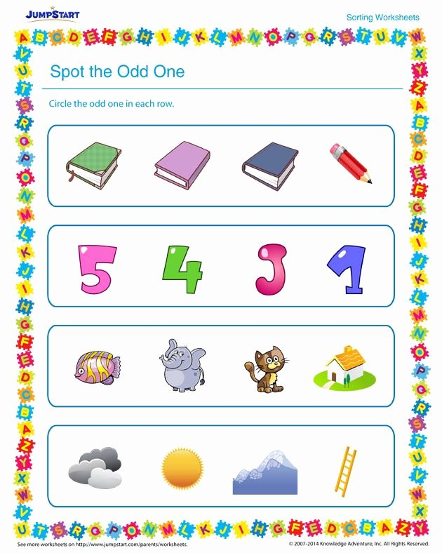 Odd One Out Worksheets for Preschoolers Best Of Spot the Odd E Worksheet – Free sorting Printable