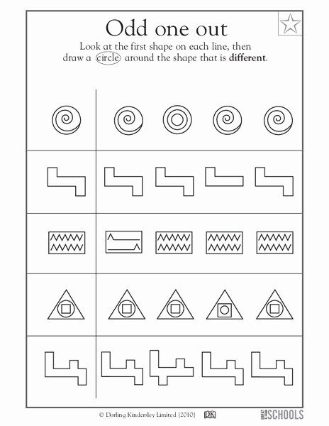 Odd One Out Worksheets for Preschoolers Fresh Odd E Out Worksheet for Pre K Kindergarten