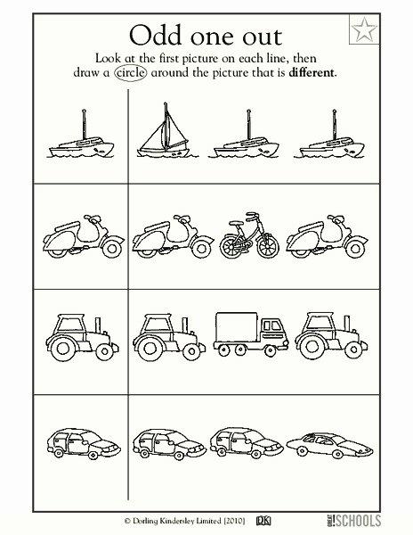 Odd One Out Worksheets for Preschoolers Lovely Odd E Out Worksheet for Pre K Kindergarten
