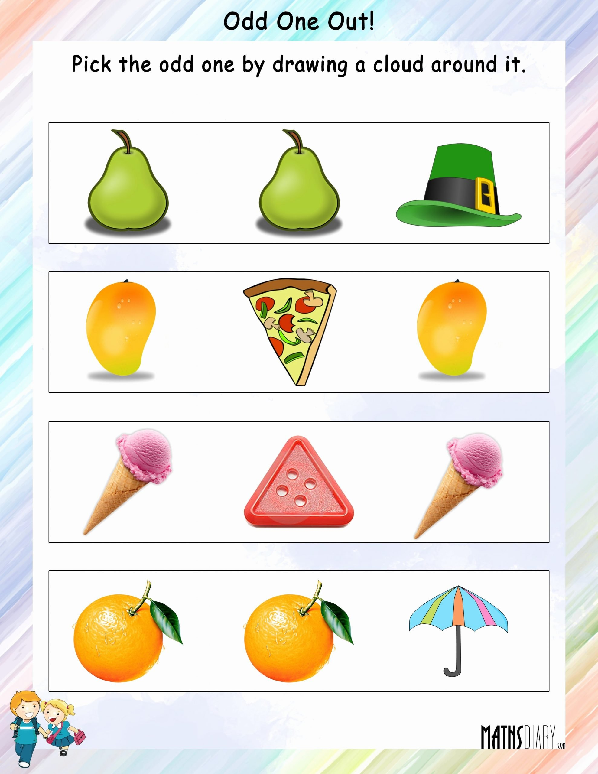 Odd One Out Worksheets for Preschoolers Lovely Odd E Out Worksheets