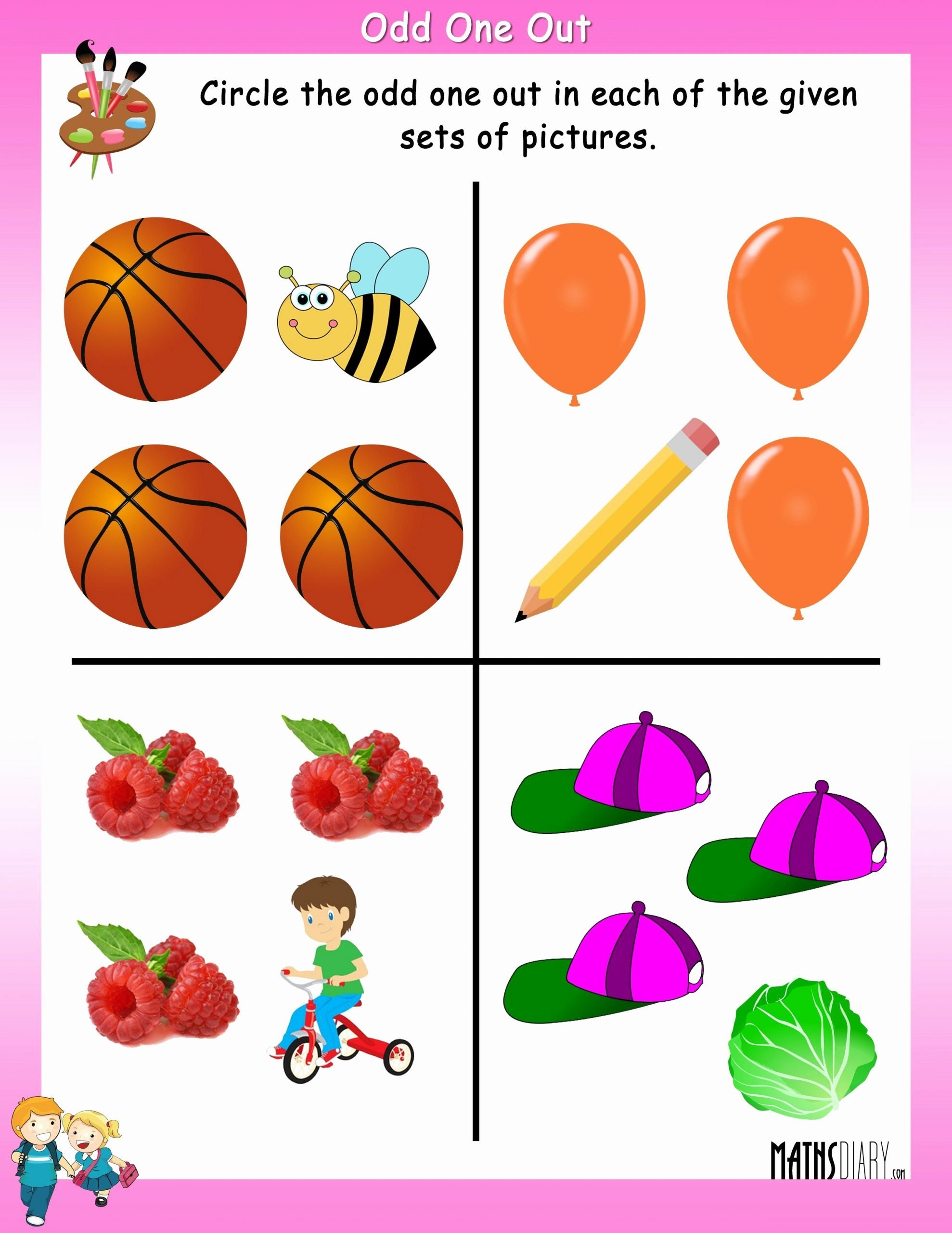 Odd One Out Worksheets for Preschoolers top Circle the Odd One Out Mathsdiary