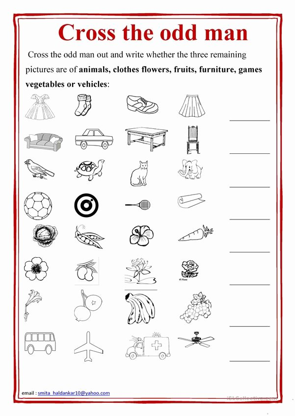 Odd One Out Worksheets for Preschoolers Unique Cross the Odd Man Out English Esl Worksheets for Distance
