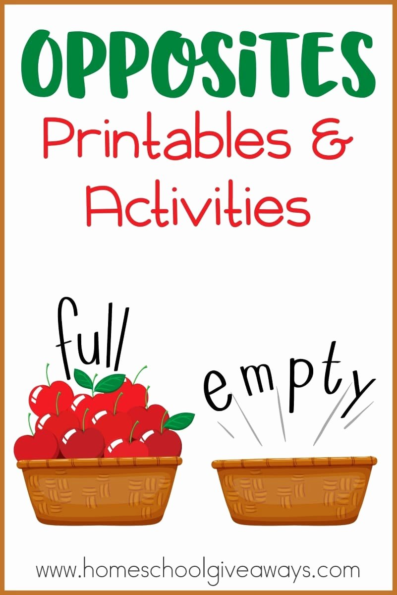Opposite Worksheets for Preschoolers Lovely Opposites Printables and Activities Homeschool Giveaways