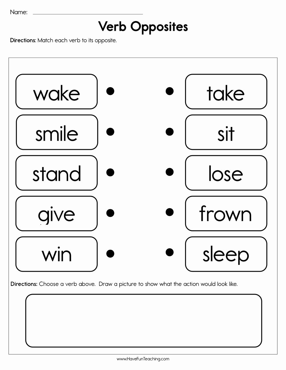 Opposite Worksheets for Preschoolers New Verb Opposites Worksheet