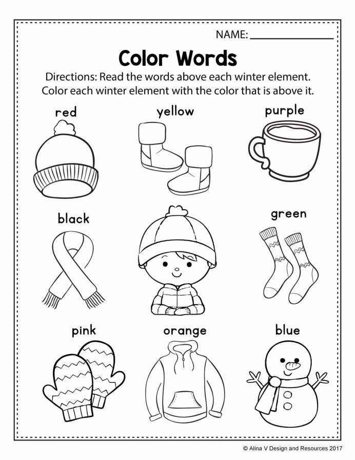 Orange Worksheets for Preschoolers Lovely Free Winter Literacy Worksheet for Kindergarten No Prep
