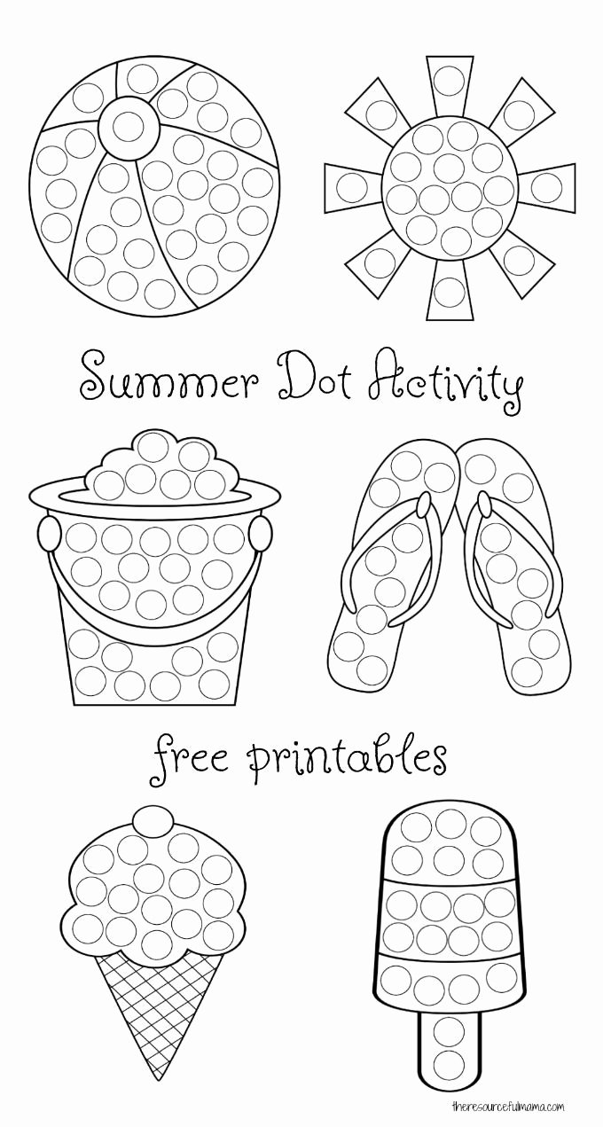 Painting Worksheets for Preschoolers Best Of Summer Dot Activity Free Printables