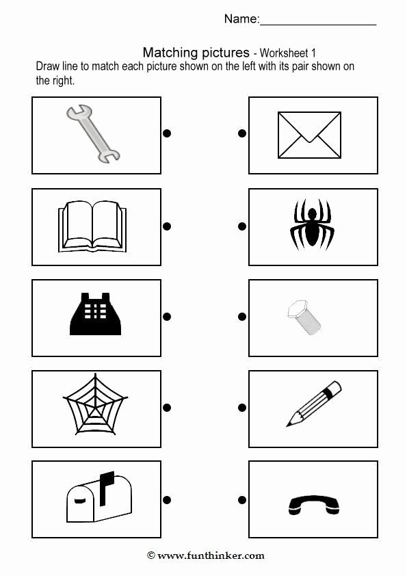Pairing Worksheets for Preschoolers Beautiful Matching Picture Brain Teaser Worksheets 1