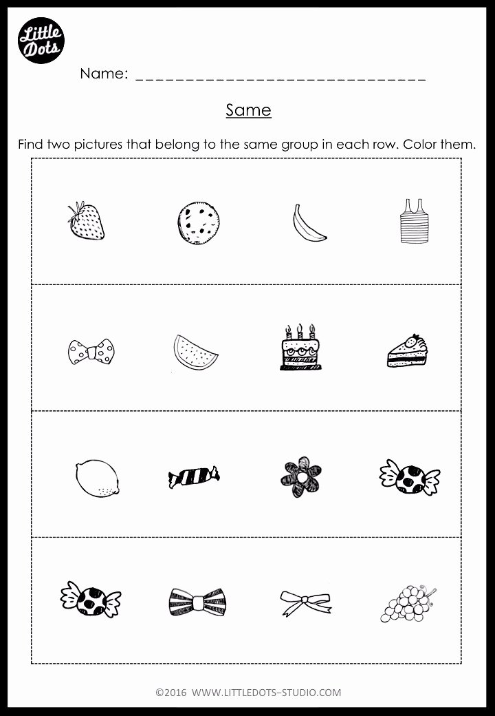 Pairing Worksheets for Preschoolers Inspirational Kindergarten Same and Different Worksheets and Activities