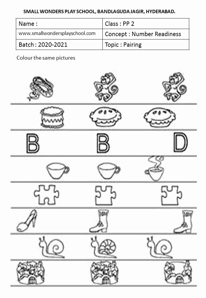 Pairing Worksheets for Preschoolers Lovely Kindergarten Work Sheets