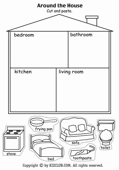 Parts Of the House Worksheets for Preschoolers Awesome Around the House Activity