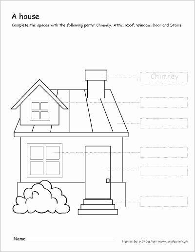Parts Of the House Worksheets for Preschoolers Awesome Colour the Parts Of the House