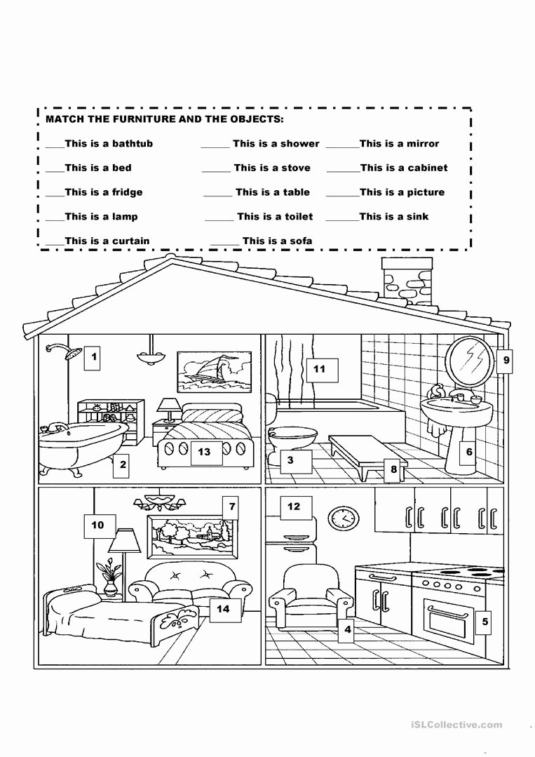 Parts Of the House Worksheets for Preschoolers Best Of English Esl Rooms In the House Worksheets Most Ed