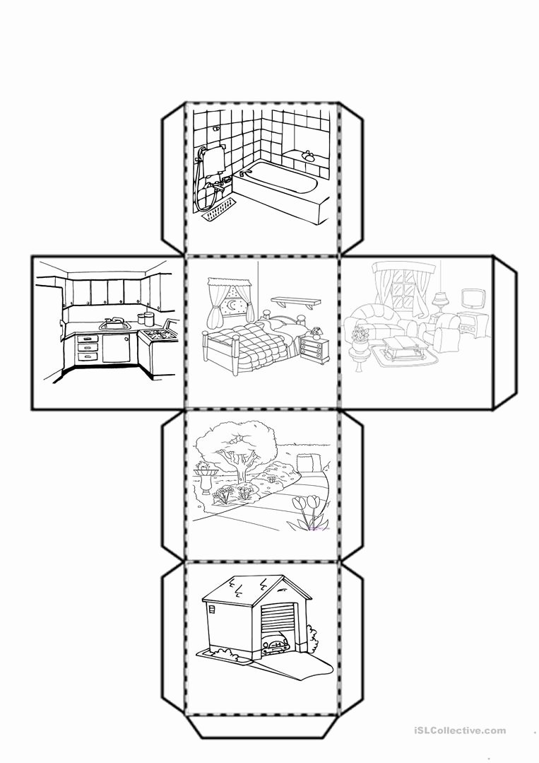 Parts Of the House Worksheets for Preschoolers Fresh Cube with the Parts Of the House English Esl Worksheets