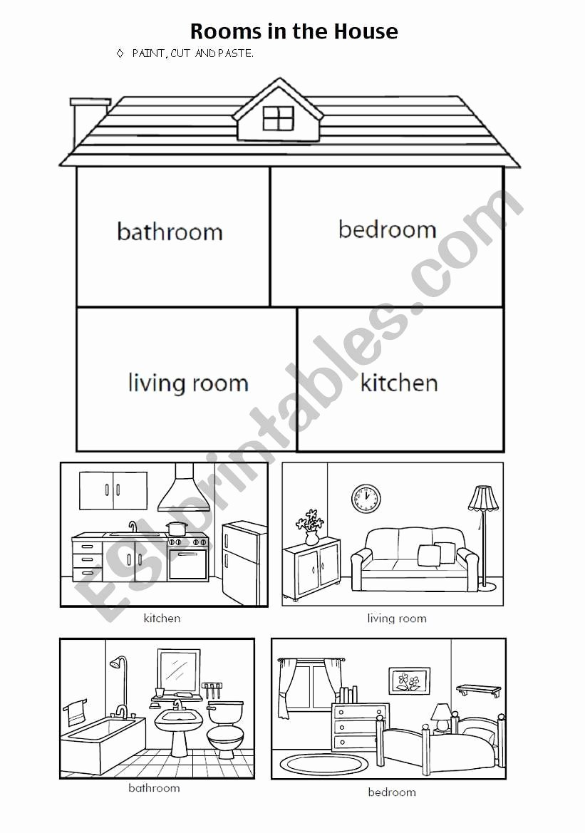 Parts Of the House Worksheets for Preschoolers Inspirational Parts Of the House Esl Worksheet by Missuli