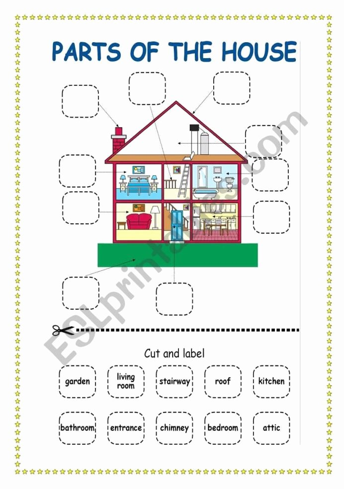 Parts Of the House Worksheets for Preschoolers Inspirational Parts the House Esl Worksheet by Scampi Worksheets