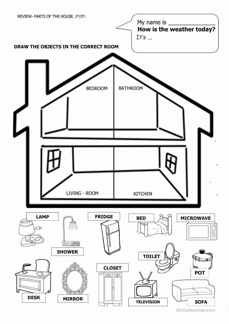 Parts Of the House Worksheets for Preschoolers Lovely House and Furniture