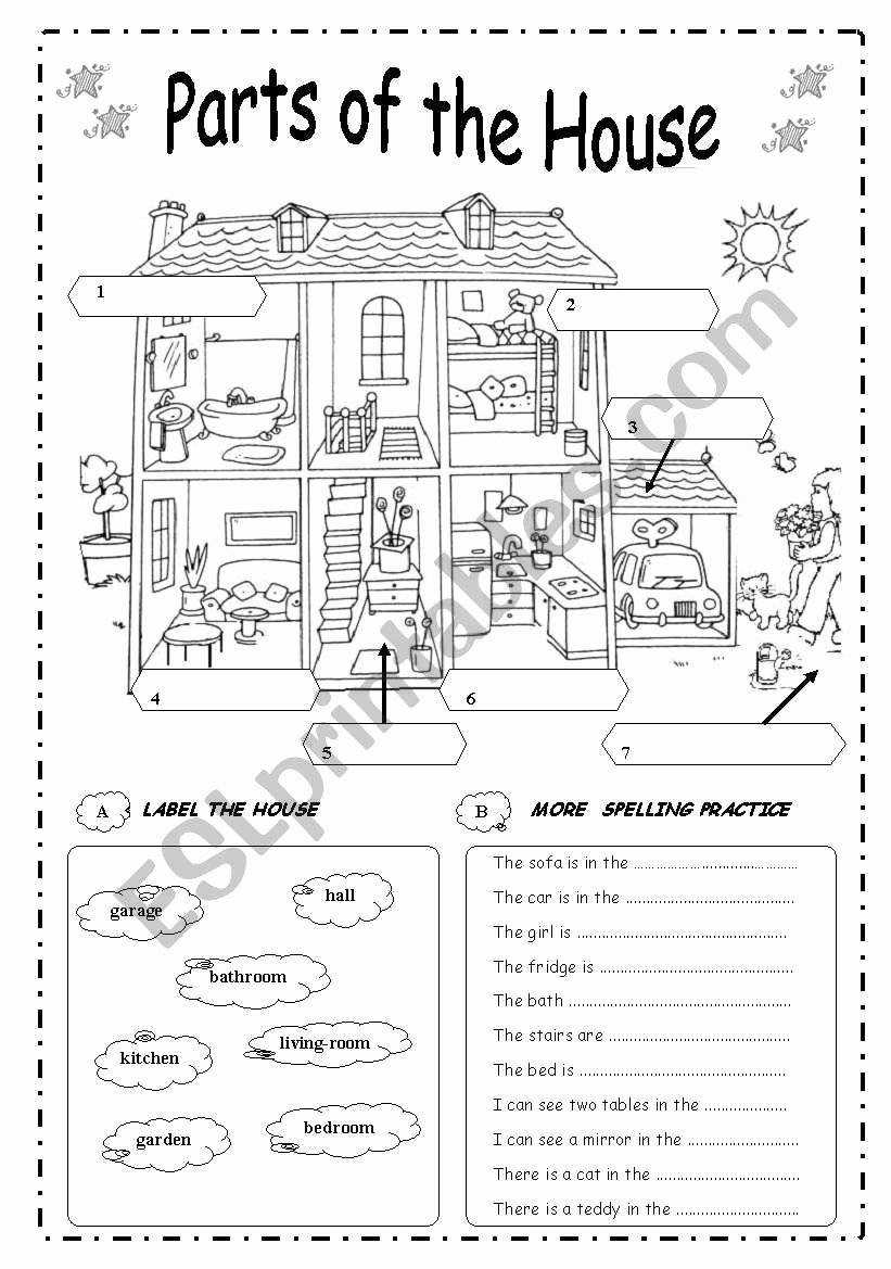 Parts Of the House Worksheets for Preschoolers Lovely Parts the House Esl Worksheet by Vivi Quir Worksheets