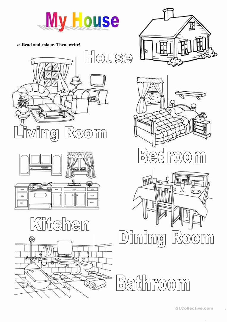 Parts Of the House Worksheets for Preschoolers top Worksheet My House 1 House English Esl Worksheets