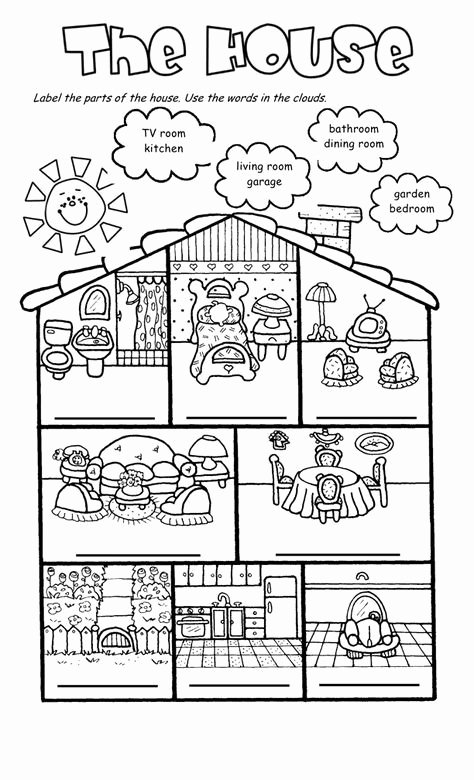 Parts Of The House Worksheets For Preschoolers Lovely House And Furniture –  Printable Worksheets For Kids