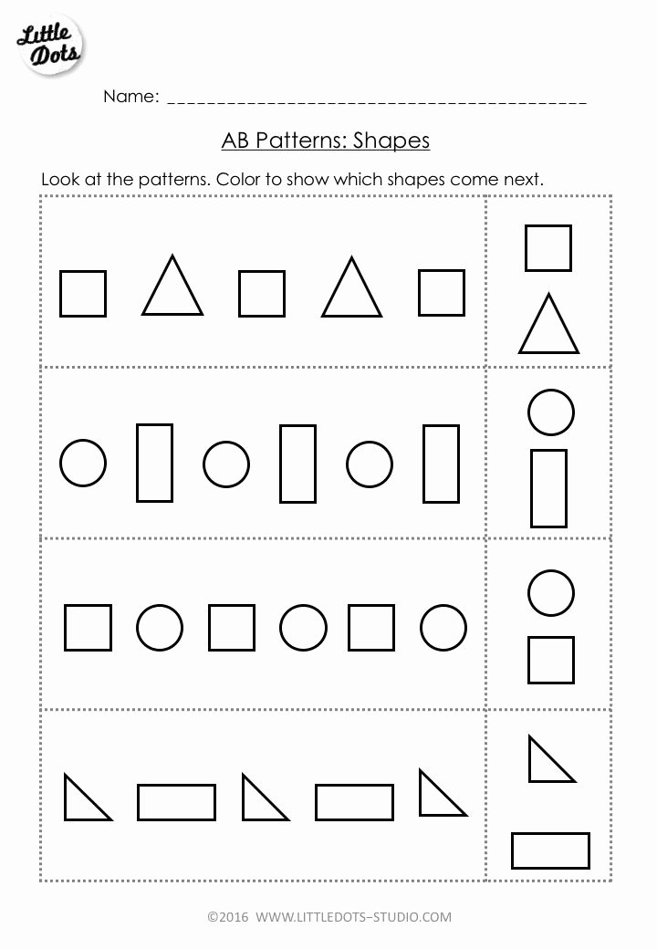 Patterning Worksheets for Preschoolers Beautiful Free Ab Pattern Worksheet for Pre K Continue the Ab