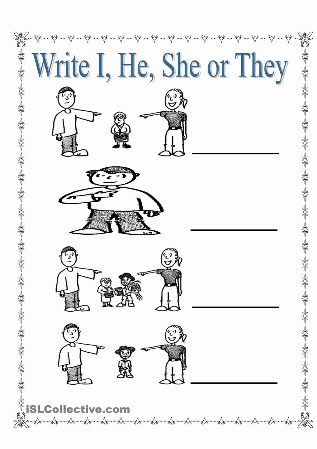 Personal Pronouns Worksheets for Preschoolers Awesome Personal Pronouns I She He and they