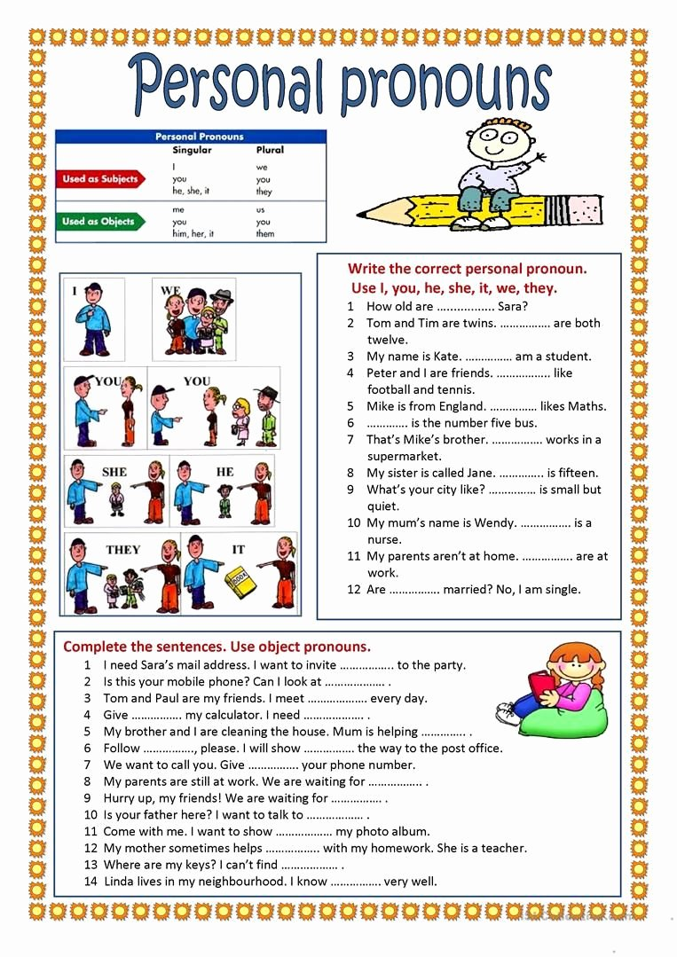 Personal Pronouns Worksheets for Preschoolers New Personal Pronouns Worksheet Free Esl Printable Worksheets