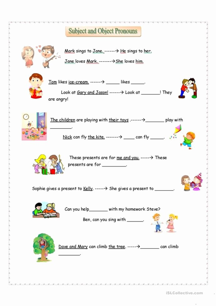 Personal Pronouns Worksheets for Preschoolers top Subject and Object Pronouns English Esl Worksheets for